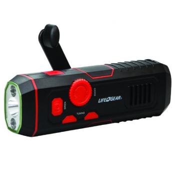 LifeGear LG3860675 Stormproof USB Crank Flashlight & Radio 12 Lumen
