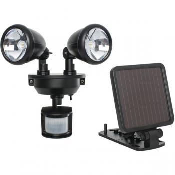MAXSA INNOVATIONS 44215 Solar-Powered Dual-Head LED Security Spotlight (Black)
